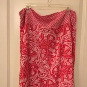 Faded Glory XL red paisley pattern skirt